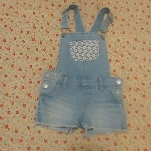 Girls short overalls size xs light blue wash